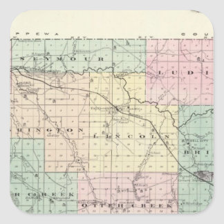 Map of Eau Claire County, State of Wisconsin Square Sticker