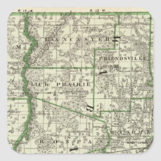 Map of Edwards & Wabash counties and Albion Square Sticker