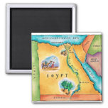 Map of Egypt 2 Inch Square Magnet