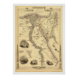 Map of Egypt and Arabia Petrea by Rapkin 1851 Poster