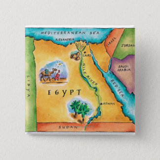 Map of Egypt Pinback Button