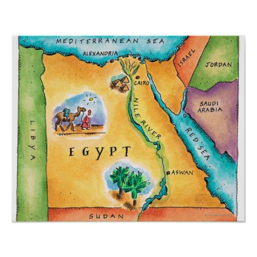 Map of Egypt Poster