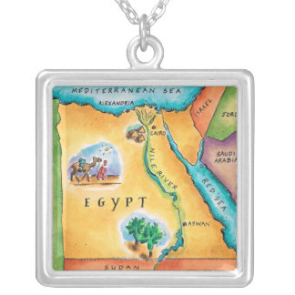 Map of Egypt Silver Plated Necklace