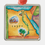 Map of Egypt Square Metal Christmas Ornament