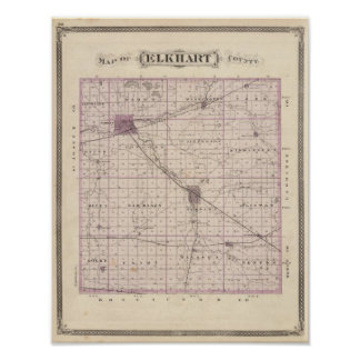 Map of Elkhart County Posters