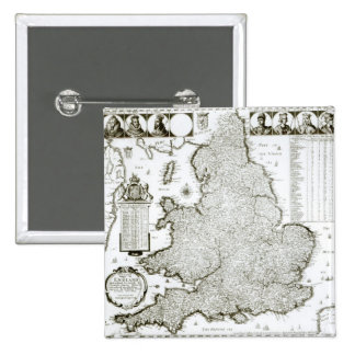 Map of England and Wales, 1644 Pinback Button