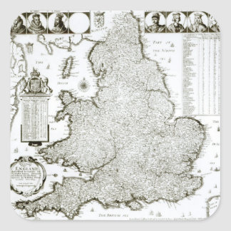 Map of England and Wales, 1644 Square Sticker