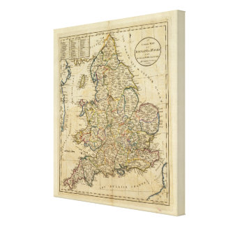 Map of England and Wales Canvas Print