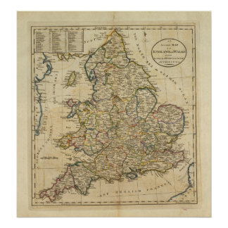 Map of England and Wales Poster