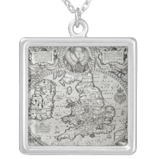 Map of England during the reign of Silver Plated Necklace