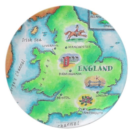 Map of England Melamine Plate