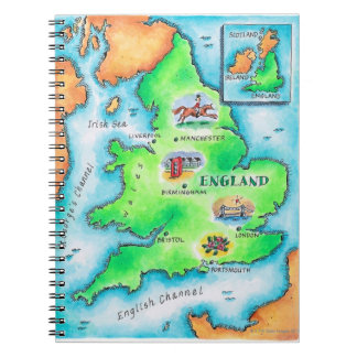 Map of England Spiral Note Book