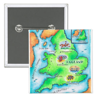 Map of England Pinback Button