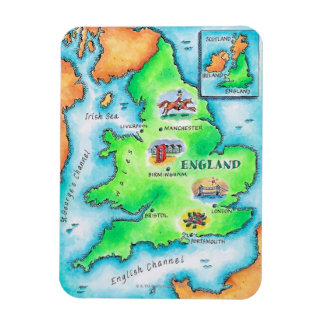 Map of England Rectangle Magnets