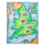Map of England Spiral Notebook