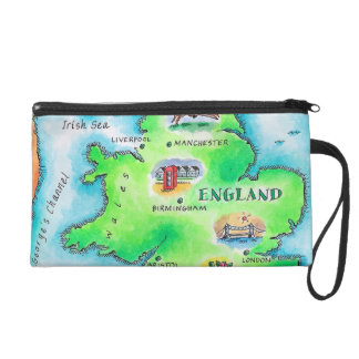 Map of England Wristlet Purse
