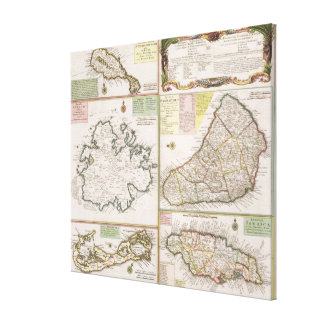 Map of English Colonies in the Caribbean, pub. by Canvas Print