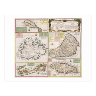 Map of English Colonies in the Caribbean, pub. by Postcard