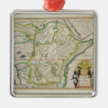 Map of Ethiopia showing five African states Square Metal Christmas Ornament