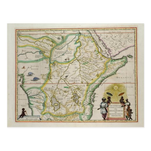 Map of Ethiopia showing five African states Postcard