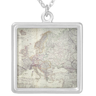 Map of Europe, 1841 Silver Plated Necklace