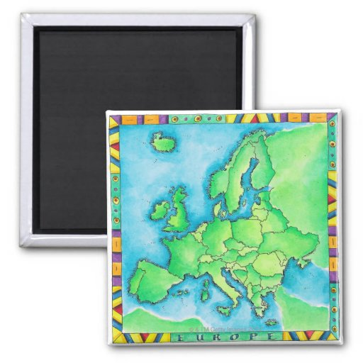 Map of Europe 2 2 Inch Square Magnet