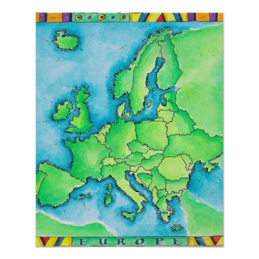 Map of Europe 2 Poster