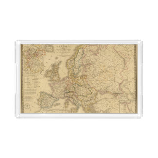 Map of Europe 2 Rectangle Serving Trays