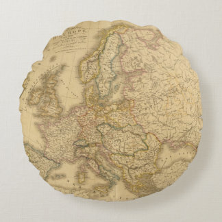 Map of Europe 2 Round Pillow