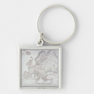 Map of Europe 2 Silver-Colored Square Keychain