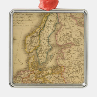 Map of Europe 2 Square Metal Christmas Ornament