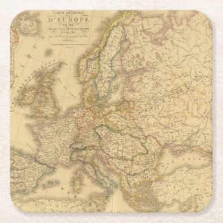 Map of Europe 2 Square Paper Coaster