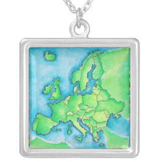 Map of Europe 2 Square Pendant Necklace