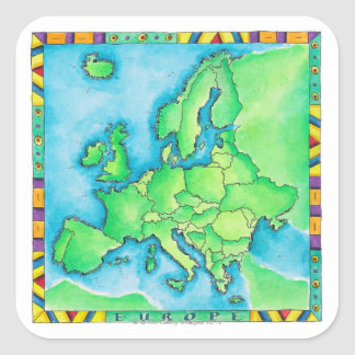 Map of Europe 2 Square Sticker