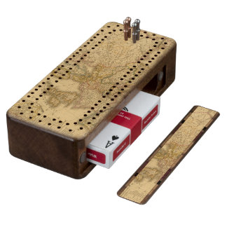 Map of Europe 2 Wood Cribbage Board