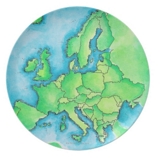 Map of Europe 3 Dinner Plate