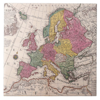 Map of Europe 3 Large Square Tile