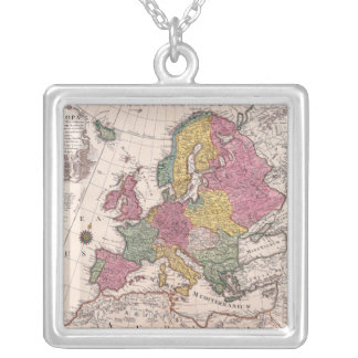 Map of Europe 3 Square Pendant Necklace