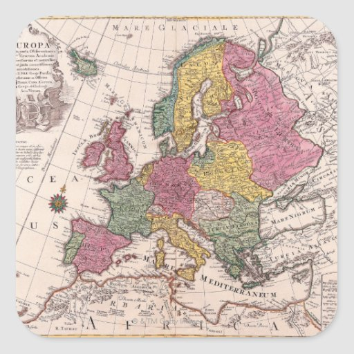 Map of Europe 3 Square Sticker
