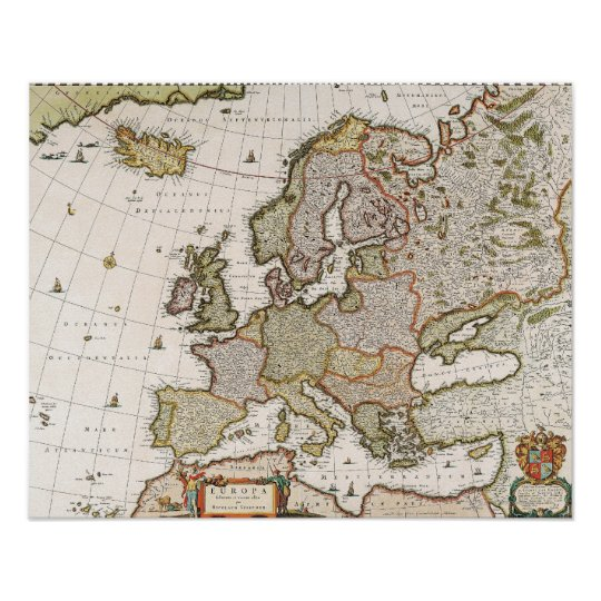 Map of Europe 4 Poster