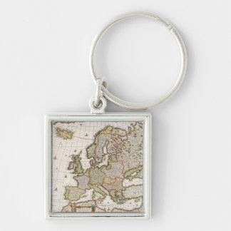 Map of Europe 4 Silver-Colored Square Keychain