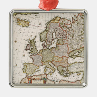 Map of Europe 4 Square Metal Christmas Ornament