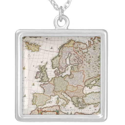 Map of Europe 4 Square Pendant Necklace