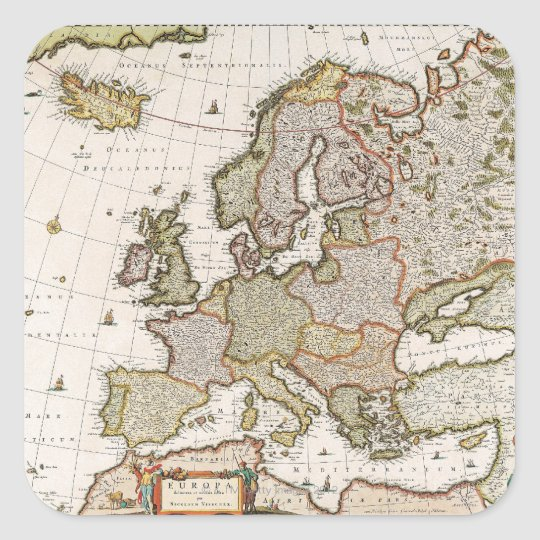 Map of Europe 4 Square Sticker