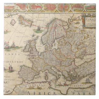 Map of Europe 6 Large Square Tile