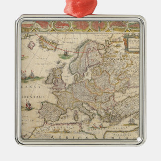 Map of Europe 6 Metal Ornament