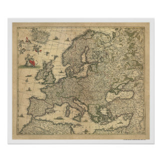 Map of Europe by Frederico de Wit 1700 Poster