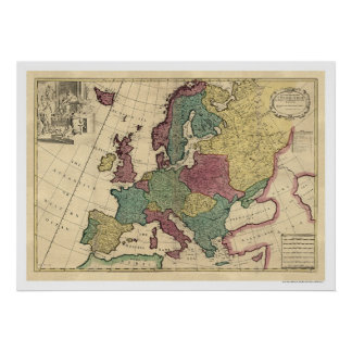 Map of Europe by Senex 1725 Poster