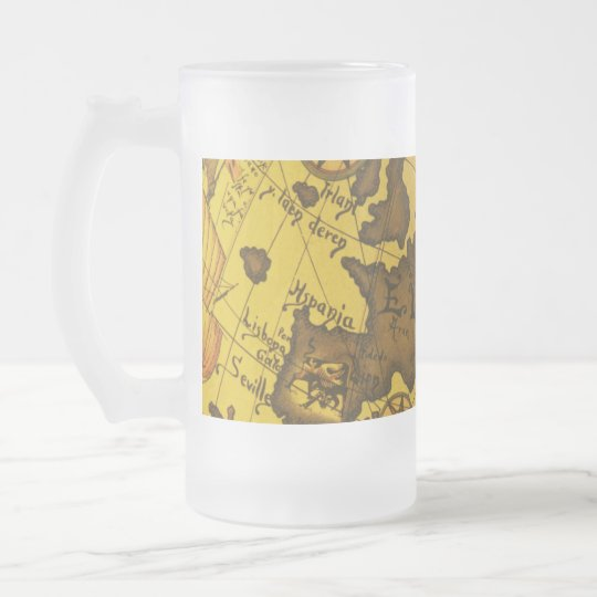 Map of Europe Frosted Glass Beer Mug