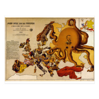 Map of Europe – John Bull and His Friends (1900) Postcard